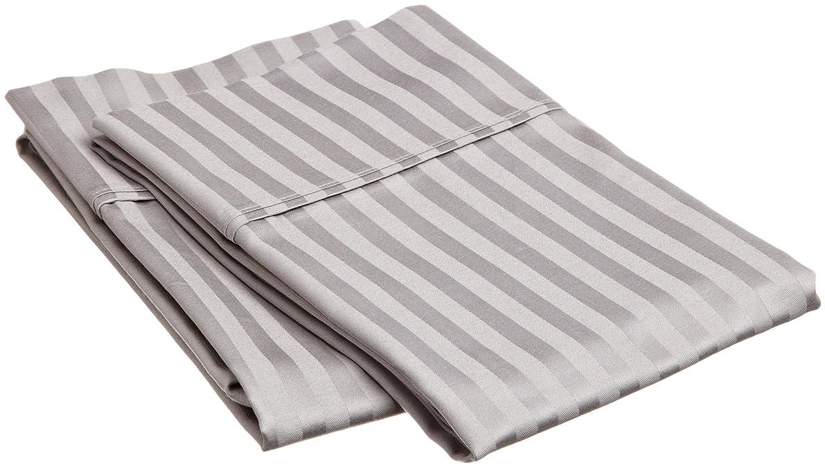 Superior 100% Premium Soft Combed Cotton Pillowcase Cover Pair, Sateen Stripes, Standard - Grey