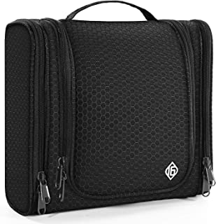 16 Large Toiletry Travel Bag for Men and Women Heavy Duty Waterproof Sturdy Hook Shower Bag ONLY SIXTEEN (Black)