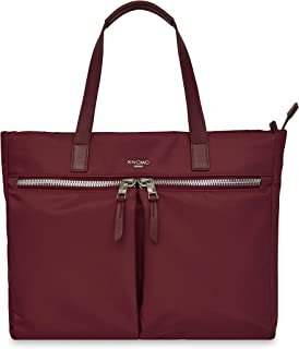 """Knomo Mayfair Blenheim, 14"""" Leather Tote, with Multiple Compartments, Device Protection, Suitcase Slip Pocket, RFID Pocket and KNOMO ID, Berry"""