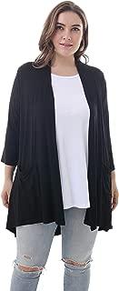 ZERDOCEAN Women's Plus Size 3/4 Sleeve Lightweight Soft Printed Drape Cardigan with Pockets