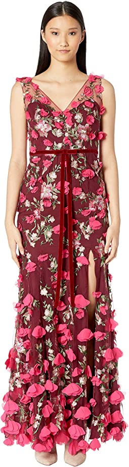 V-Neck Embroidered Gown w/ 3D Chiffon Flowers