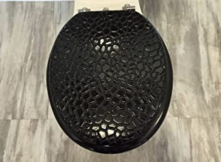 Heavy duty Metal Hinges Round Wooden Toilet seats with Stone Design.(Stone Black)