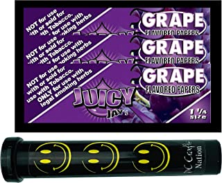 Herb Airtight Tube Pocket Protector with Juicy Jay's Grape 1.25 Flavored Hemp Rolling Papers 3 Count DC Crafts Nation- Happy Face