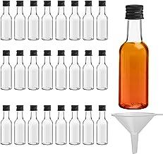 Belle Vous 24 Mini Bouteille - Bouteilles Miniatures Réutilisables 50ml Vides en Plastique avec Bouchons Noirs et Entonnoir pour Liquides - Mignonnettes Alcool Excellentes pour Mariages et Fêtes