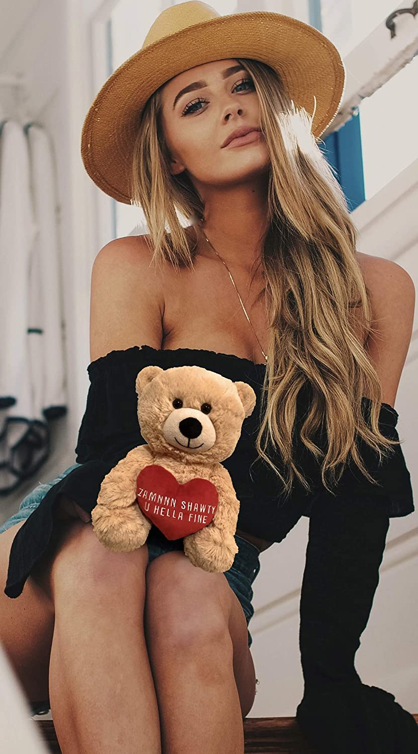 Zamnnn Shawty U Hella Fine 10 Inch Teddy Bear /& Gift Bag Valentines Day Teddy Bear Birthday Funny Cute Stuffed Animal Girlfriend Best Friend: Anniversary Boyfriend Beige Valentines Bear