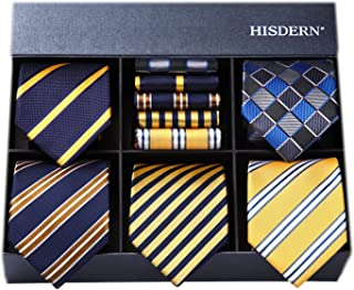 HISDERN(ヒスデン) ビジネス用 ネクタイ チーフ 5本 セット おしゃれ ギフトボックス付き 15柄物 就活 結婚式 プレゼント TA5-01S