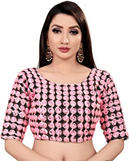 Ocean Fashion Women's Brocade Stitched Elbow Length Sleeves Readymade Saree Blouse