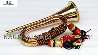 """Brass and Copper Blowing Bugle Horn 10.6"""" Inch Signal Musical Instrument Classic Style with Beautiful Colourful Rope Binding"""