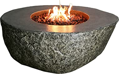Elementi Fiery Rock Outdoor Fire Pit Table 50 Inches Round Firepit Concrete Patio Heater Electronic Ignition Backyard Fireplace Cover Lava Rock Included Liquid Propane