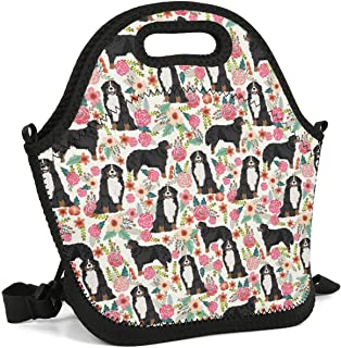 Heart Wolf Bernese Mountain Dog with Florals Cool Insulated Lunch Bag Lunch Tote Reusable Lunch Bag