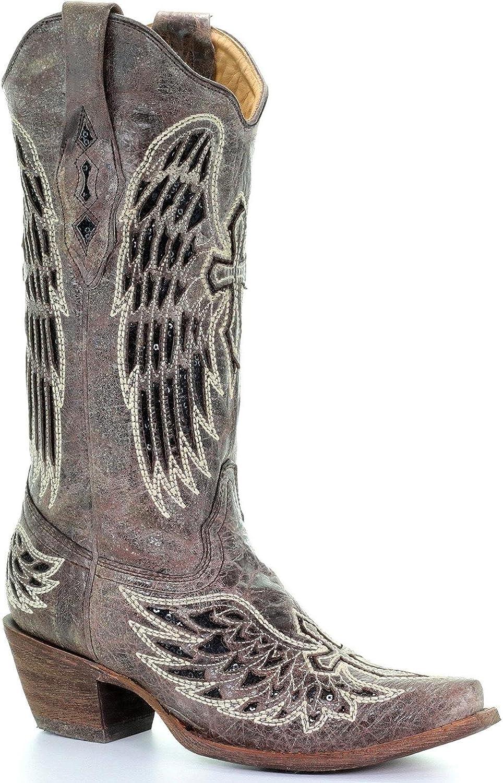 CORRAL Woherrar Woherrar Woherrar Disressed Sequin Cross och Wing intarsia Cowgirl Boot Snip Toe - A1241 bspringaaa  bra priser