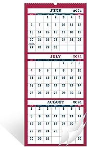 2021-2022 Wall Calendar - 3 Month Display Vertical Calendar, June 2021 - July 2022, Calendar Planner, 11