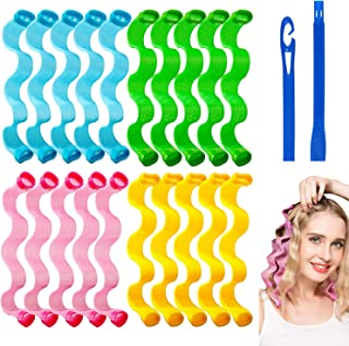 24Pcs Hair Curlers No Heat Curlers Spiral Curls Styling Kit Magic Heatless Hair Curler Wave Curlers Rolls Style with Styli...