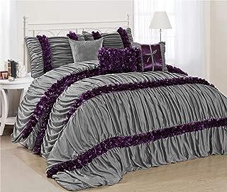 HIGI EvJK Bedroom Bed-in-A-Bag 7 Piece Comforter Set - Ruched Pleat - Queen - Gray and Purple - Ruffled Style - Hypoallergenic - Breathable Bedding Set (JK-Caralina)