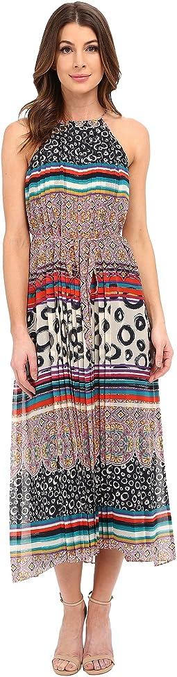 Sleeveless Chiffon Printed Midi Dress with High-Low Hem