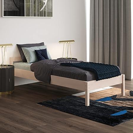 Lit 90x200 cm Kaja avec Sommier à Lattes – Cadre de Lit Simple en Bois de Bouleau stratifié - Supporte jusqu'à 700 kg - Style Scandinave - Lit d'appointe
