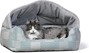 K&H Pet Products Hooded Lounge Sleeper Pet Bed Teal Patchwork Print 20 X 25 Inches