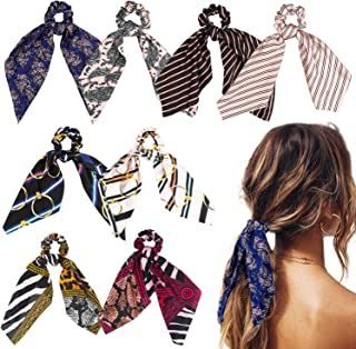 WATINC 8Pcs Silk Satin Hair Scrunchies, Scarf Hair Ties with Flower Pattern, Stripe Printed Hair Bobbles for Ponytail Hold...