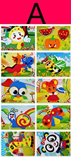 Mosaic Sticker Art Kits, DIY Handmade 3D Puzzle Drawing Stickers for Kids, Toddler Crafts, Pack of 10pcs (A)