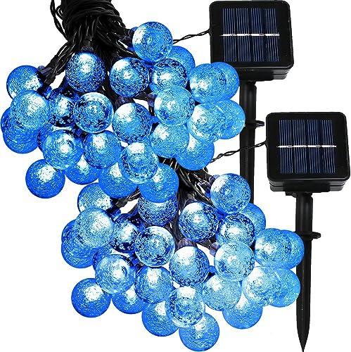 popular Sunnydaze Set of 2, 20 Foot 30-Count LED Solar Powered String lowest Lights Outdoor wholesale Globe, Blue online