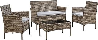 Salbay - Juego de muebles de jardín de ratán para interior y exterior, 4 piezas, juego de mesa y sofá, beige