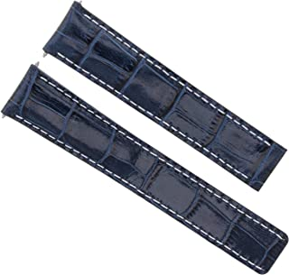 LEATHER BAND WATCH STRAP FOR BREITLING CHRONOMAT DEPLOYMENT CLASP 20/18 BLUE WS