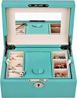 Protagonist W Jewelry Box Organizer Faux-Leather with Mirror and Lock Tiffany Blue Four Sizes Women (Small)