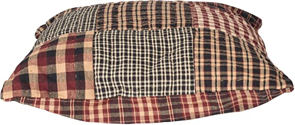 Village Patchwork Plaid Quilted 16 X 16 All Cotton Decorative Throw Pillow