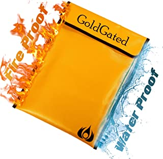 """Fireproof Document Bags, Fire Safe Document Holder – 15""""x 11"""" Fireproof & Waterproof Safe Bag, Silicone Coated Pouch for Your A4 Documents, Files, Money & Jewelry, Gold"""