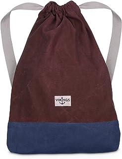 VIKINGS Rucksack Gym Bag Sack Turnbeutel Baumwolle Canvas Tasche Sport Frauen Männer Kinder, Farbe:Bordeaux