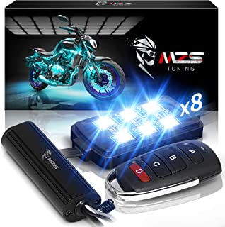 MZS Motorcycle LED Light Kit,Multi-Color Neon RGB Strips Wireless Remote Controller for ATV UTV Cruiser Harley Davidson Du...
