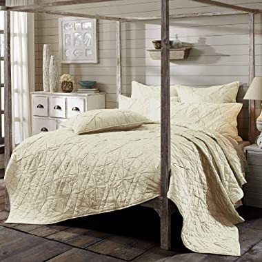 VHC Brands Farmhouse Aubree White Bedding Accessory, Queen Quilt 92x92, Ivory