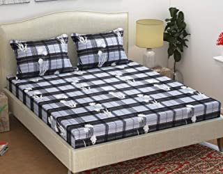 Homefab India Royal Cotton Double Bedsheet with 2 Pillow Covers - Grey, 3D Printed Pattern
