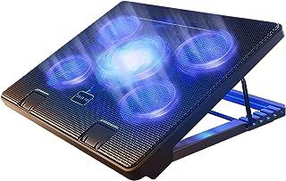 وسادة تبريد الكمبيوتر المحمول من كوتيك مقاس 12 بوصة - 17 بوصة وسادة تبريد مريحة مع 5 مراوح هادئة و2 منفذ USB 2.0 قابل للتع...