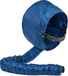 Pro Deluxe Portable Hair Dryer Soft Bonnet Hood Attachment - XL Adjustable Drying for Home & Everyday Use Collapsible for Travel Bag - Women Hair Care - Hands Free Drying Cap Blows Lots of Air (Blue)