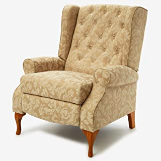 BrylaneHome Queen Anne Style Tufted Wingback Recliner - Taupe Damask