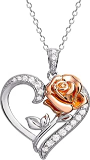 Disney Beauty and the Beast Pink Gold Over Sterling...