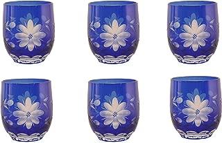 Home Decoration Accessories Cobalt Blue Glass Votive Candle Holder Etched Eight Petal Flowers Set of 6
