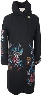 IVKO Long Merino Wool Coat with Embroidered Flower Designs, Black