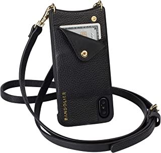 Bandolier Emma Crossbody Phone Case and Wallet - Black Leather with Gold Detail - Compatible with iPhone XR Only
