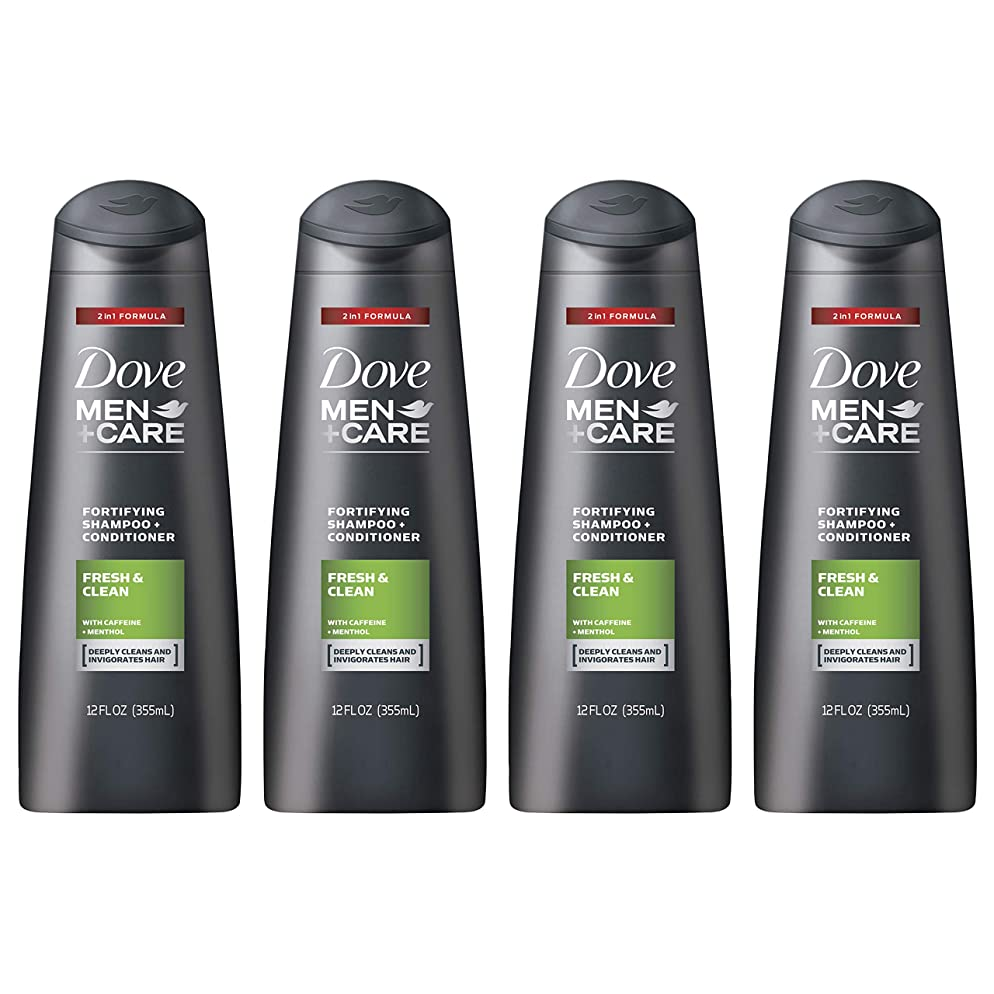 Dove Men+Care 2 in 1 Shampoo and Conditioner, Fresh and Clean, 12 oz, 4 count