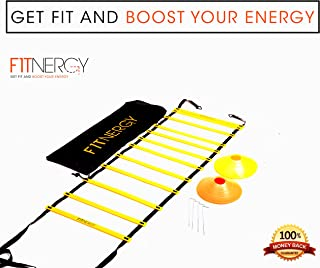 F1TNERGY Speed and Agility Ladder Training Equipment Yellow 12 Rung Ladder Free Carrying Bag + 10 Speed Cones (5 Orange + 5 Yellow) + 4 Pegs & D-Rings Soccer Football