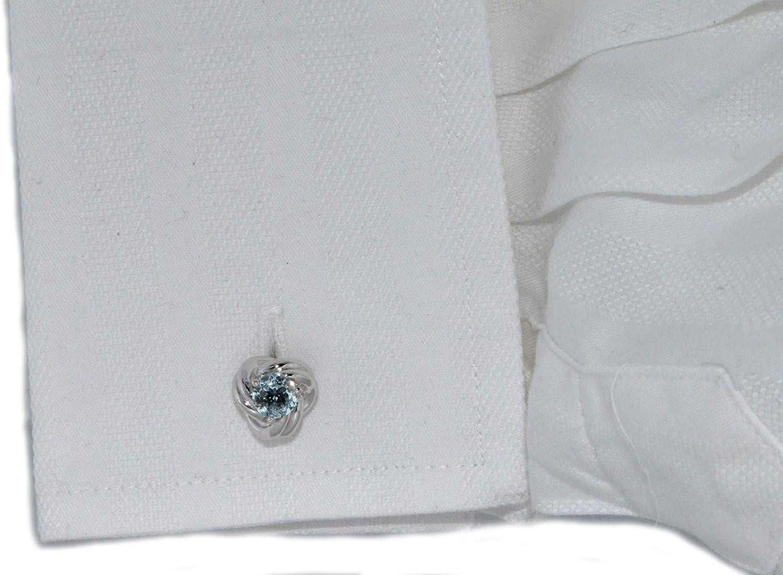 Elizabeth Jewelry Genuine Aquamarine Knot Cufflinks Brass Rhodium Plated