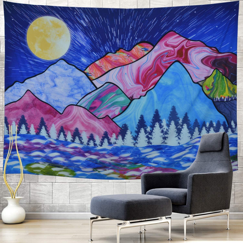 Generleo Max 41% OFF Blue Cartoon Tapestry T Regular dealer Colorful Mountain Moon
