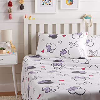 AmazonBasics by Disney Minnie Mouse Purple Love Bed Sheet Set, Full