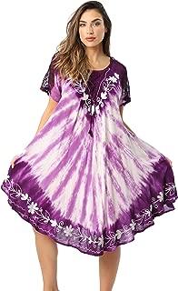 Riviera Sun Tie Dye Summer Dress with Raglan Eyelet Sleeve & Embroidery