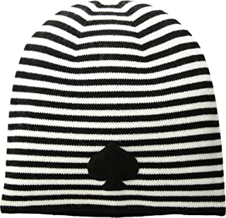 Women's Striped Spade Beanie Black/Cream One Size