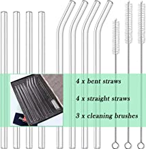 8pcs Glass Drinking Straws, Straight 9 inches x 10mm Bent 8.2 inches x 10mm, Reusable for Hot or Cold Drinks, Eco Friendly...