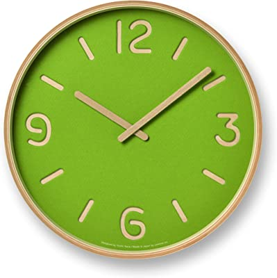 レムノス 掛け時計 トムソン ペーパー アナログ 木枠 緑 NY18-15 GN Lemnos 直径30.5×奥行5.2cm