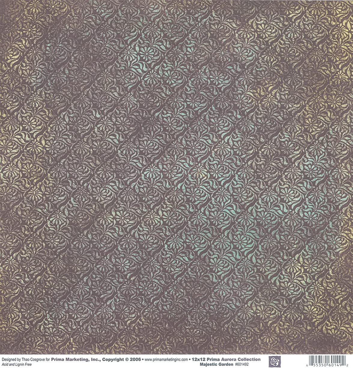 Prima 601492 12 by 12-Inch Aurora Double Sided Patterned Cardstock Paper, Majestic Garden, 25-Pack
